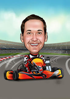 Go Karting Bill And Ben The Cartoon Men Caricatures